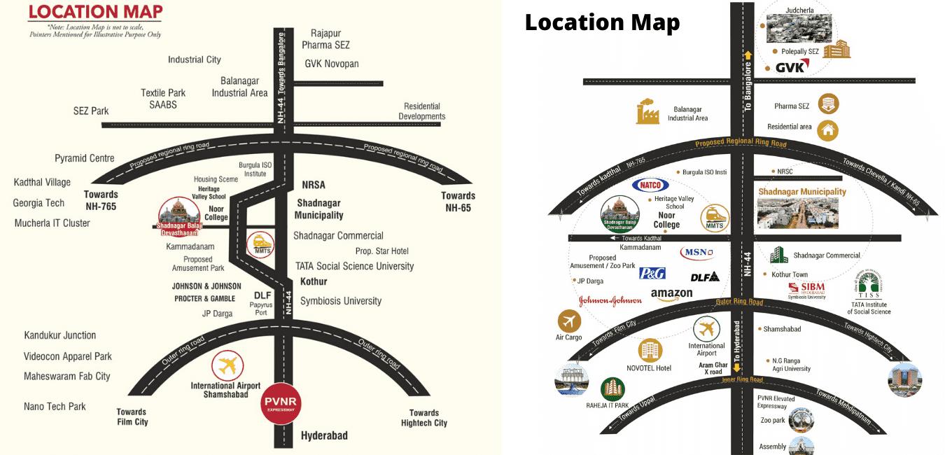 plots for sale in Shadnagar - Location Map
